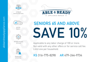 Seniors 65 and above save 10% on appliance repair services