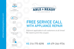 Free service call with appliance repair performed by Able and Ready Appliance Repair