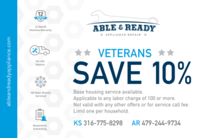 Veterans save 10% on appliance repair services