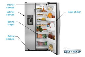 Refrigerator data plate locations