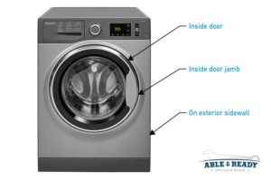 Front load washer data plate locations